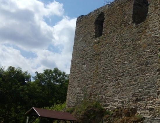 Panoramatický pohled na zeď zříceniny hradu Dobronice.