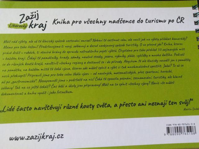 Zadní strana knihy zažij Liberecký kraj.